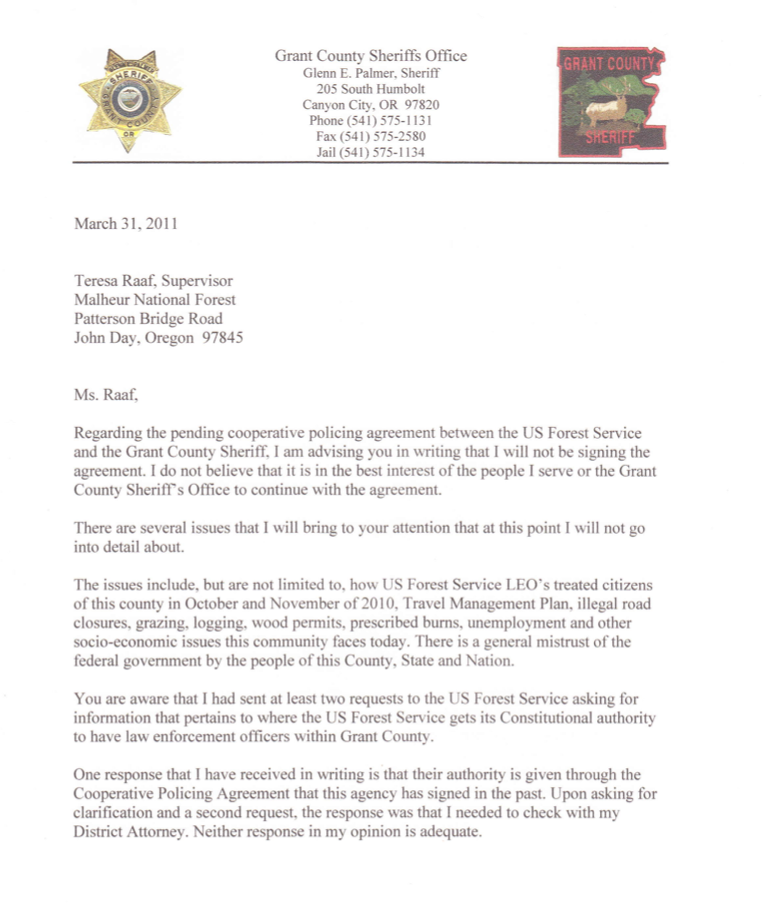 Letter from grant county sheriff to ms raaf of the us forest service excerpt spiritdancerdesigns