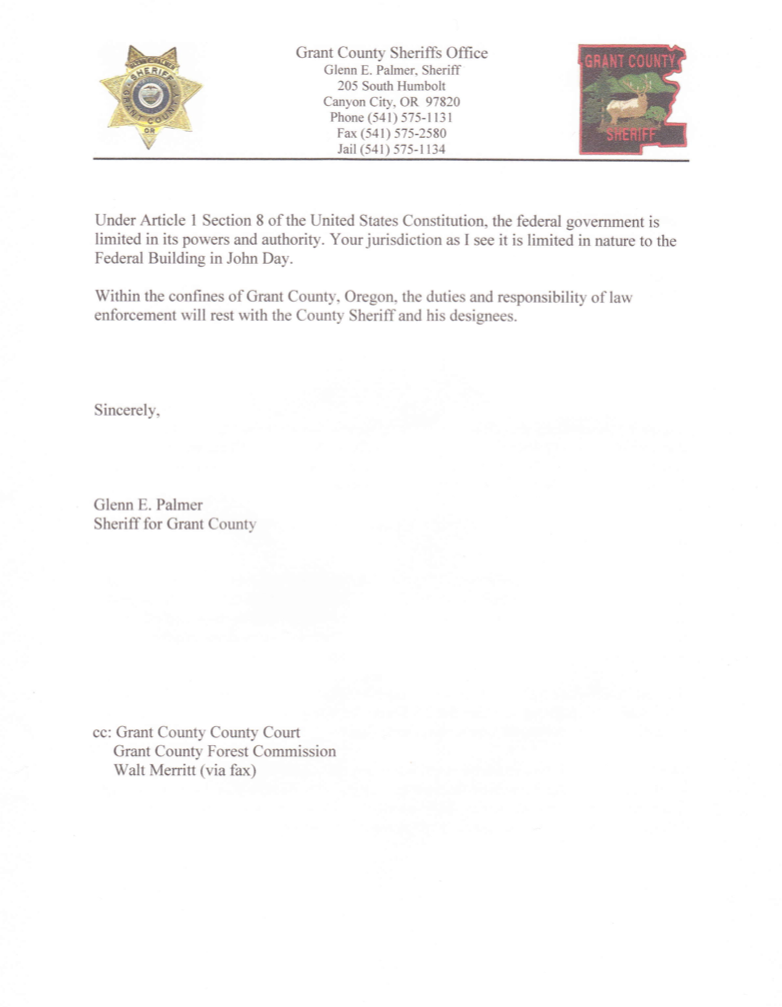 Letter From Grant County Sheriff To Ms Raaf Of The Us Forest Service
